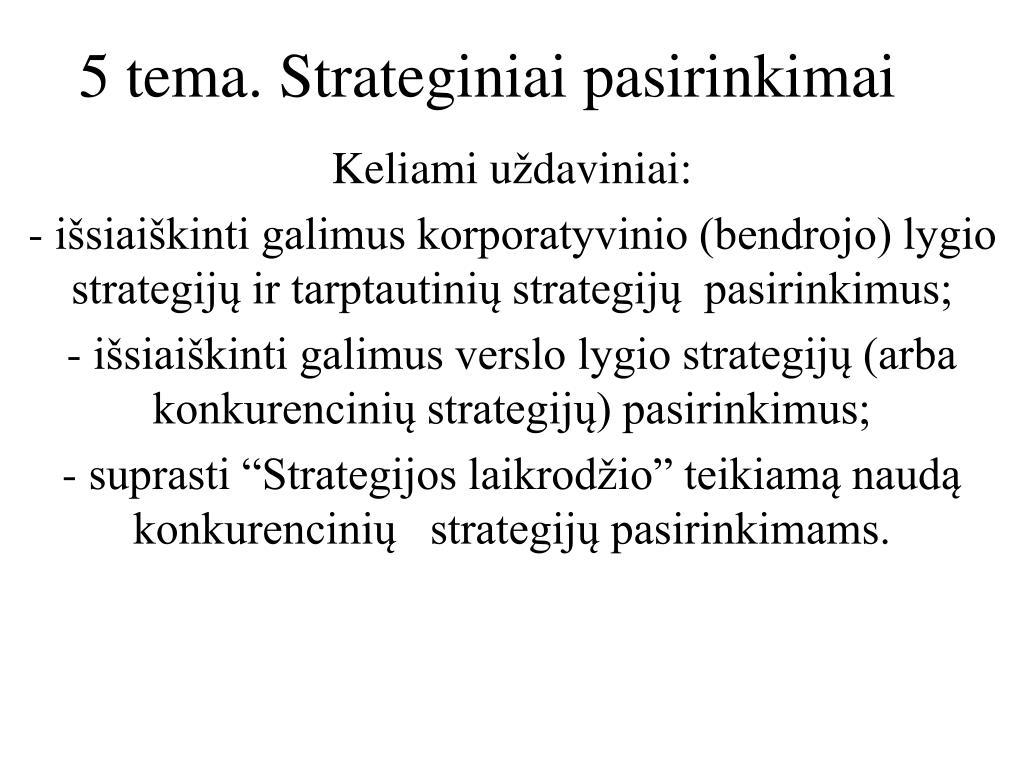 penkios bendros konkurencinės strategijos galimybės